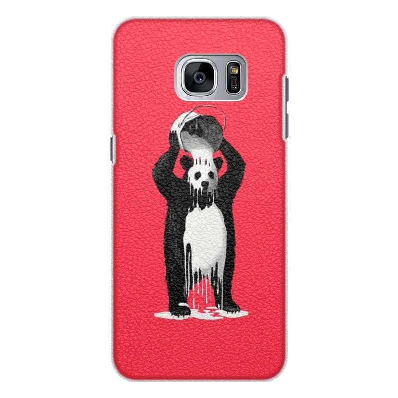 Чехол для Samsung Galaxy S7 кожаный Printio Панда в краске позиционеры для сна candide позиционер с подголовником воздухопроницаемая панда air