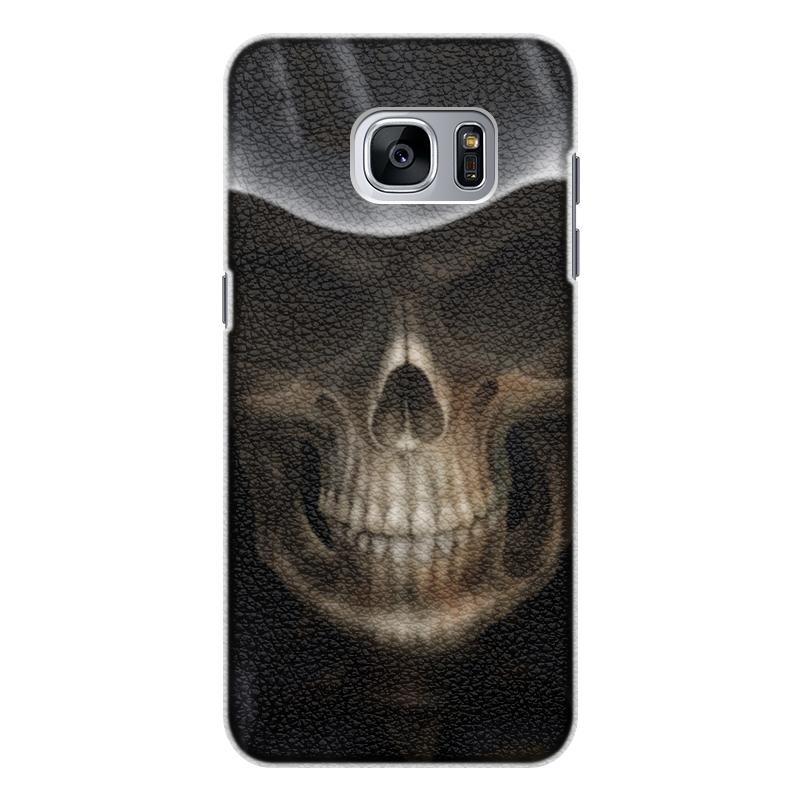 Чехол для Samsung Galaxy S7 кожаный Printio Череп в капюшоне чехол для samsung galaxy s5 printio череп в капюшоне