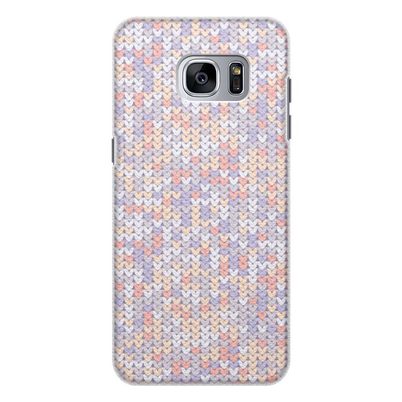 Чехол для Samsung Galaxy S7 кожаный Printio Сиреневый вязаный узор