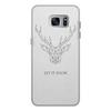 """Чехол для Samsung Galaxy S7 кожаный """"Dear Deer"""" - рисунок, дизайн, олень, минимализм, рога"""
