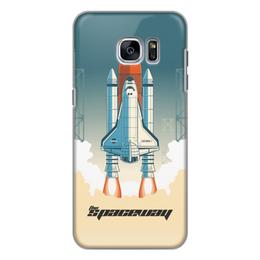"""Чехол для Samsung Galaxy S7 силиконовый """"Покорение космоса"""" - космос, ракета, астрономия, шатл, thespaceway"""