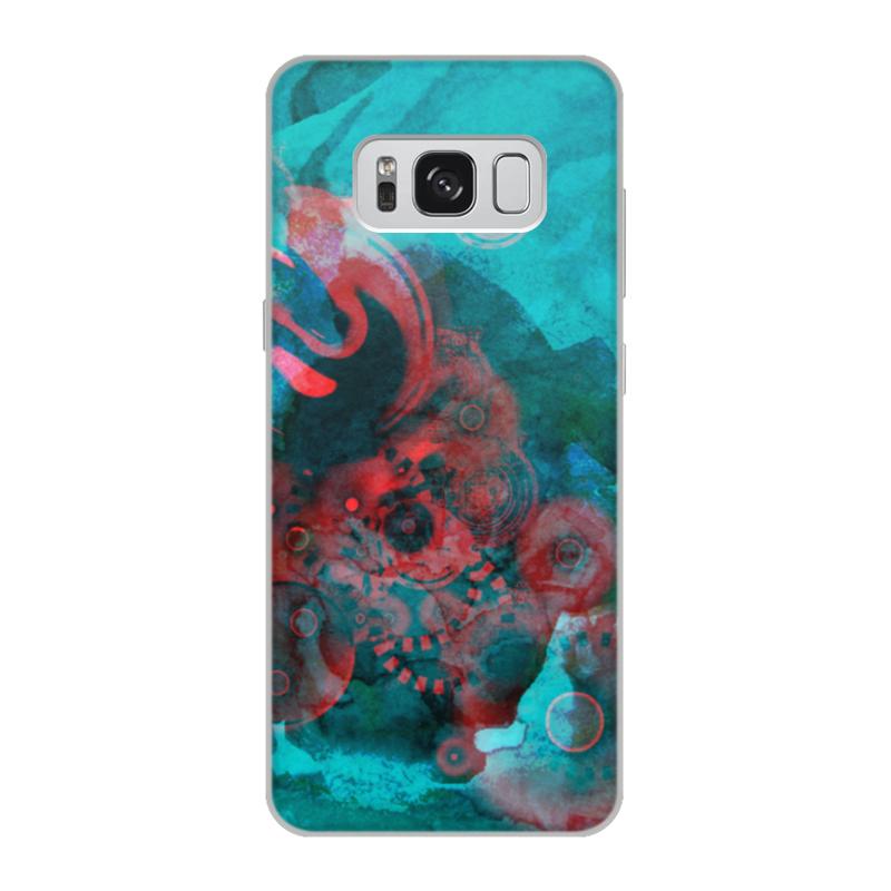 Чехол для Samsung Galaxy S8, объёмная печать Printio Красно-бирюзовая абстракция футляр для картриджей 2 стилуса для приставки ds lite красно белый