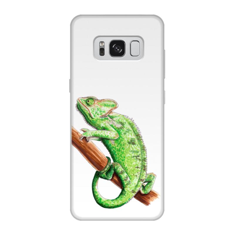Чехол для Samsung Galaxy S8, объёмная печать Printio Зеленый хамелеон на ветке чехол для карточек хамелеон с узорами дк2017 111