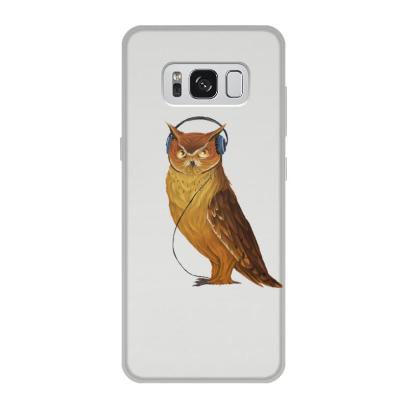 Чехол для Samsung Galaxy S8, объёмная печать Printio Сова в наушниках цена