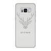 """Чехол для Samsung Galaxy S8, объёмная печать """"Dear Deer"""" - рисунок, дизайн, олень, минимализм, рога"""