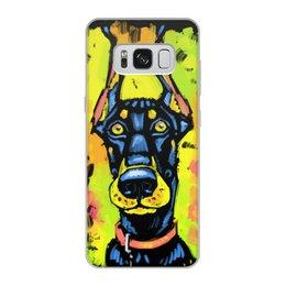 """Чехол для Samsung Galaxy S8, объёмная печать """"Доберман-Пинчер"""" - собачка, иллюстрация, собаки, стилизация"""