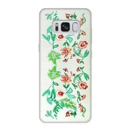 """Чехол для Samsung Galaxy S8, объёмная печать """"Дикие цветы"""" - лето, цветы, листья, красные цветы"""
