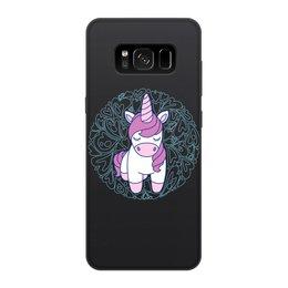 """Чехол для Samsung Galaxy S8, объёмная печать """"Unicorn"""" - единорог, розовый, сердце, орнамент, узор"""