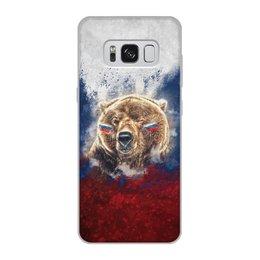 """Чехол для Samsung Galaxy S8, объёмная печать """"Русский Медведь"""" - футбол, медведь, россия, флаг, триколор"""