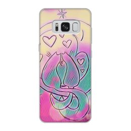 """Чехол для Samsung Galaxy S8, объёмная печать """"Влюбленные коты на луне"""" - любовь, день святого валентина, 14 февраля, подарки, день влюбленных"""