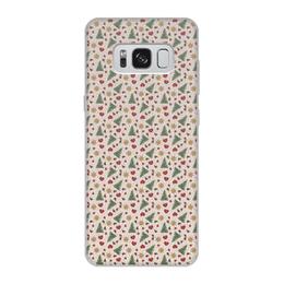 """Чехол для Samsung Galaxy S8, объёмная печать """"Праздник"""" - елки, сердце, игрушки, звезды, снег"""
