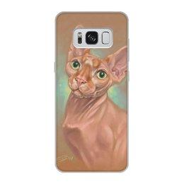 """Чехол для Samsung Galaxy S8, объёмная печать """"КОТ СФИНКС"""" - арт, кошки, коты, рыжий, иллюстрация"""