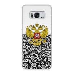"""Чехол для Samsung Galaxy S8, объёмная печать """"Цветы и герб"""" - цветы, россия, герб, орел, хохлома"""