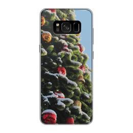 """Чехол для Samsung Galaxy S8, объёмная печать """"Новый год"""" - новый год, рождество, елочныеигрушки, снег на ветках, елочные шары"""