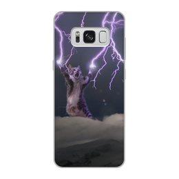 """Чехол для Samsung Galaxy S8, объёмная печать """"Кот Тесла"""" - мем, гроза, cat, котик, молния"""