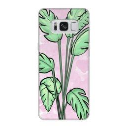 """Чехол для Samsung Galaxy S8, объёмная печать """"Тропическая нежность"""" - любовь, романтика, листья, тропики, студентам"""