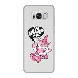 """Чехол для Samsung Galaxy S8, объёмная печать """"Unicorn"""" - привет, надпись, розовый, hello, единорог"""