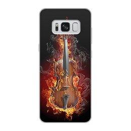 """Чехол для Samsung Galaxy S8, объёмная печать """"МУЗЫКА ФЭНТЕЗИ"""" - огонь, скрипка, красота, яркость, стиль"""
