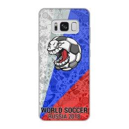 """Чехол для Samsung Galaxy S8, объёмная печать """"World Soccer 2018"""" - футбол, мяч, мундиаль, с юмором"""