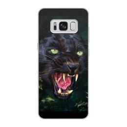 """Чехол для Samsung Galaxy S8, объёмная печать """"ПАНТЕРА. ФЭНТЕЗИ"""" - стиль, глаза, красота, клыки, ярость"""