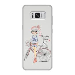 """Чехол для Samsung Galaxy S8, объёмная печать """"Девушка и котёнок"""" - друг"""