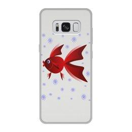 """Чехол для Samsung Galaxy S8, объёмная печать """"Золотая аквариумная рыбка"""" - арт, золотая рыбка, аквариум, детская иллюстрация, под знаком рыб"""