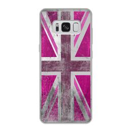 """Чехол для Samsung Galaxy S8, объёмная печать """"Розовый Британский флаг"""" - юмор, fun, англия"""