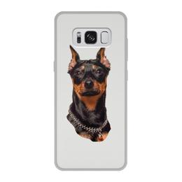 """Чехол для Samsung Galaxy S8, объёмная печать """"Зоркий взгляд"""" - животные, собака, пинчер, собакадруг, черный нос"""