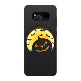 """Чехол для Samsung Galaxy S8, объёмная печать """"Хеллоуин"""" - &halloween, &тыква, &летучая мышь, &хэллоуин, &луна"""