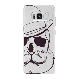 """Чехол для Samsung Galaxy S8, объёмная печать """"Без названия"""" - череп, джентельмен, борода, усы"""