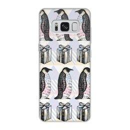 """Чехол для Samsung Galaxy S8, объёмная печать """"пингвины"""" - новый год, пингвины, зима, птицы, подарки"""