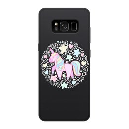 """Чехол для Samsung Galaxy S8, объёмная печать """"Unicorn"""" - розовый, единорог, орнамент, голубой, узор"""