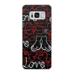 """Чехол для Samsung Galaxy S8, объёмная печать """"День Св. Валентина"""" - сердце, любовь, коты, день св валентина"""