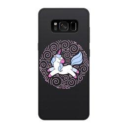 """Чехол для Samsung Galaxy S8, объёмная печать """"Unicorn"""" - голубой, узор, единорог, орнамент, розовый"""