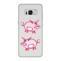 """Чехол для Samsung Galaxy S8, объёмная печать """"Розовый поросенок"""" - арт, счастье, малыш, свин, розовый поросенок"""