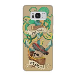 """Чехол для Samsung Galaxy S8, объёмная печать """"Осьминог"""" - череп, old school, пират, якорь, татуировка"""