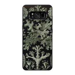 """Чехол для Samsung Galaxy S8, объёмная печать """"Лишайники (Lichenes, Ernst Haeckel)"""" - хэллоуин, черно-белый, стильный, эрнст геккель, лишайники"""
