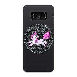 """Чехол для Samsung Galaxy S8, объёмная печать """"Unicorn"""" - узор, голубой, орнамент, розовый, единорог"""