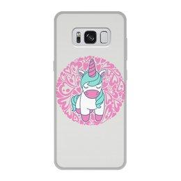"""Чехол для Samsung Galaxy S8, объёмная печать """"Unicorn"""" - сердце, узор, орнамент, розовый, единорог"""