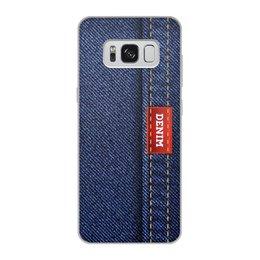 """Чехол для Samsung Galaxy S8, объёмная печать """"Джинсовый арт"""" - абстракция, джинсы, ткань, jeans, denim"""