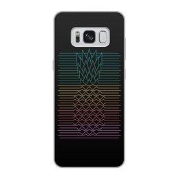 """Чехол для Samsung Galaxy S8, объёмная печать """"Неоновый ананас """" - фрукты, ананас, неон, минимализм, линии"""