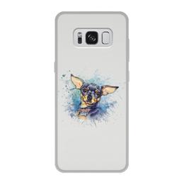"""Чехол для Samsung Galaxy S8, объёмная печать """"СОБАЧКА ТОЙ ТЕРЬЕР"""" - собачка, иллюстрация, собаки, стилизация"""