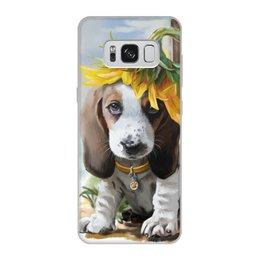 """Чехол для Samsung Galaxy S8, объёмная печать """"Собака"""" - цветок, собака, животное"""