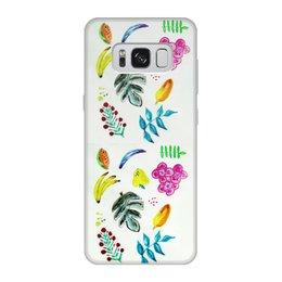 """Чехол для Samsung Galaxy S8, объёмная печать """"Фрукты"""" - лето, цветы, фрукты, ягоды, банан"""