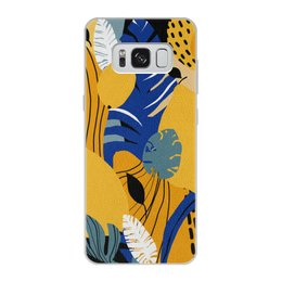 """Чехол для Samsung Galaxy S8, объёмная печать """"Тропики с лимонами и монстерой"""" - лето, синий, тропики, лимон, монстера"""