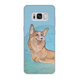 """Чехол для Samsung Galaxy S8, объёмная печать """"Корги в облаках"""" - собака, облака, корги, вельш корги, симпатичная улыбка"""