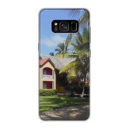 """Чехол для Samsung Galaxy S8, объёмная печать """"""""Доминикана. Тропический сад"""""""" - лето, путешествия, travel, пальмы, доминикана"""