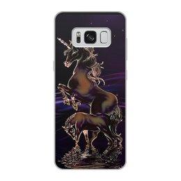 """Чехол для Samsung Galaxy S8, объёмная печать """"ЕДИНОРОГ"""" - стиль, красота, вода, фэнтези, звездное небо"""