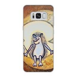 """Чехол для Samsung Galaxy S8, объёмная печать """"Ежик на луне"""" - одиночество, графика, небо, ежик, луна"""