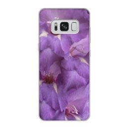 """Чехол для Samsung Galaxy S8, объёмная печать """"Сиренево-фиолетовая фантазия."""" - цветы, сиреневый, фиолетовый, нежность, гладиолус"""